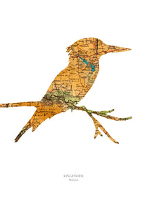Vintage Map Artwork Framed Print - Kingfisher - Available as Leeds, Yorkshire or Personalised Designs