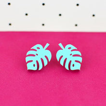 Load image into Gallery viewer, Monstera Leaf Stud Earrings - Acrylic Earrings  - Wooden Earrings - Silly Loaf - Bright and colourful