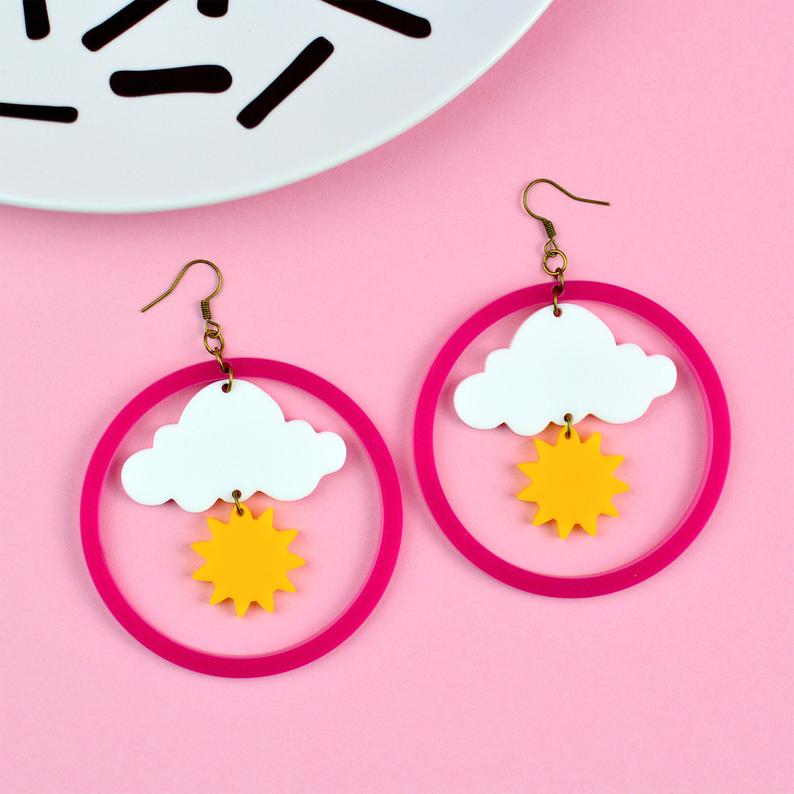 Sunshine Cloud Weather Statement Earrings - Acrylic Earrings - Silly Loaf - Bright and colourful