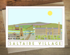 Saltaire Greetings card - tourism poster inspired - Sweetpea and Rascal - Yorkshire scenes
