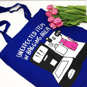 Tote Bag - Unexpected Item in bagging area - Cats - Puns - Katie Abey - cat lovers