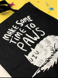 Tote Bag - Time to Paws - Cats - Puns - Katie Abey