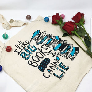 Tote Bag - I like big books and I cannot lie - Puns - Katie Abey - book lovers