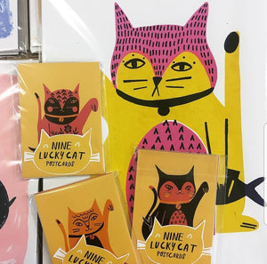 Lucky Cats Postcard set - Jenna Lee Alldread - stationery lovers - cat lover gifts
