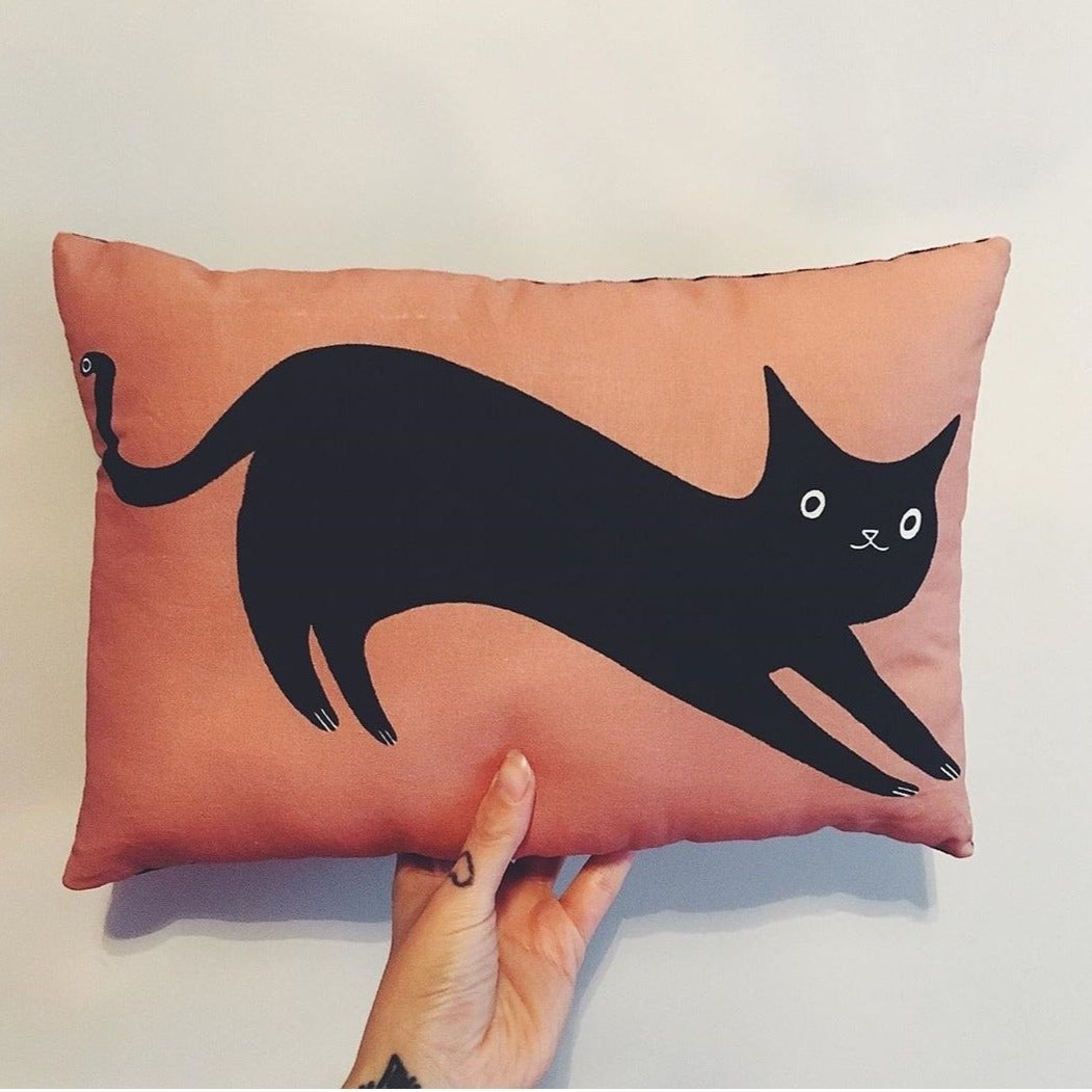 Black Cat Cushion - Jenna Lee Alldread - cat lover gifts