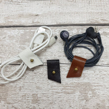Load image into Gallery viewer, Leather Cable Tidy/Cable Clips - Set of 3 - Shadow Craft