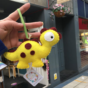 Felt Yellow with Brown Spots Dinosaur Decoration - Giddy Designs
