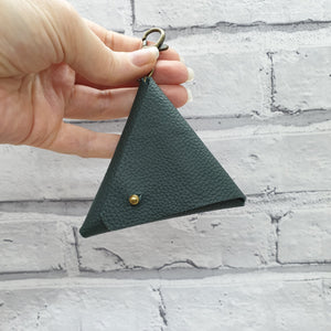 Leather Earphone Pouch/Coin Purse Keyring - Shadow Craft - Recycled Leather