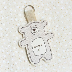 Grey homespun linen hug bear keyring - Life's Little Blessings