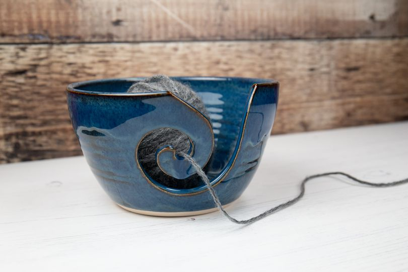 Yarn Bowl - Lagoon Blue - Thrown In Stone