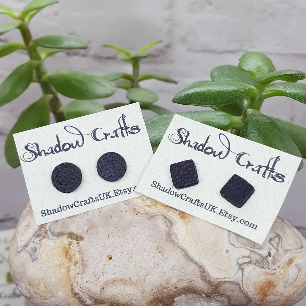 Leather Stud Earrings - Shadow Crafts