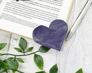Leather Heart Bookmark - Shadow Crafts - Recycled Leather