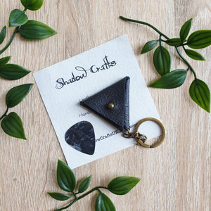 Leather Guitar Pick Pouch Keyring - Shadow Crafts