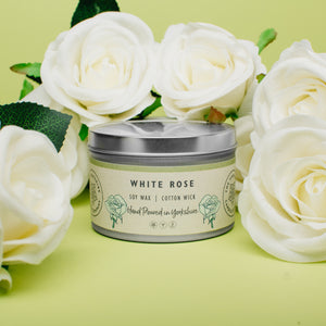 Candle - White Rose - hand poured soy wax candles - The Yorkshire Candle Company Ltd