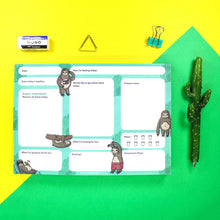 Load image into Gallery viewer, A5 weekly planner pad - Sloths - Bronte Laura Illustration