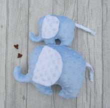 Load image into Gallery viewer, Stuffed Elephant toy - baby blue - Sewn by Sarah - new baby gift - nursery - children