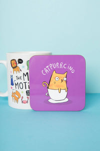 Catpurrcino coaster - Katie Abey - Cats - Puns