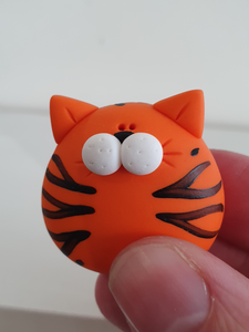Tiger - polymer clay pebble pets - LittleBigNose - animal lovers