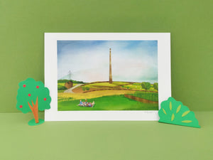 Emley Moor print - Illustrator Kate - A4 print - Yorkshire gifts