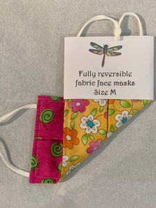 Fabric Face Masks - Reversible face coverings - Adult size - adjustable straps - Gemstone Boutique