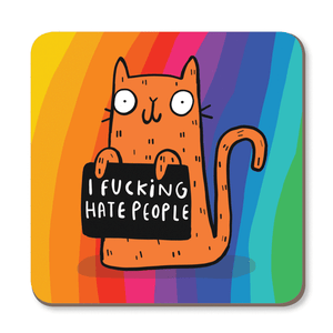 Coaster - I F**king Hate People - Katie Abey - sweary cats