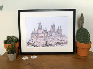 Hogwarts School Illustration - A4 print - Art by Arjo - Harry Potter inspired - Magical gift