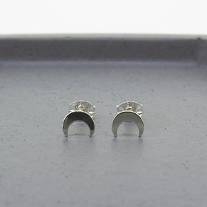 Crescent Moon Stud Earrings - Sterling Silver - Maxwell Harrison Jewellery