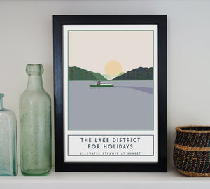 Ullswater Steamer travel inspired poster print - Sweetpea & Rascal - Lake District Cumbria