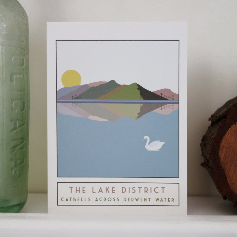 Catbells Lake District greetings card - tourism poster inspired - Sweetpea and Rascal