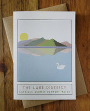 Load image into Gallery viewer, Catbells Lake District greetings card - tourism poster inspired - Sweetpea and Rascal