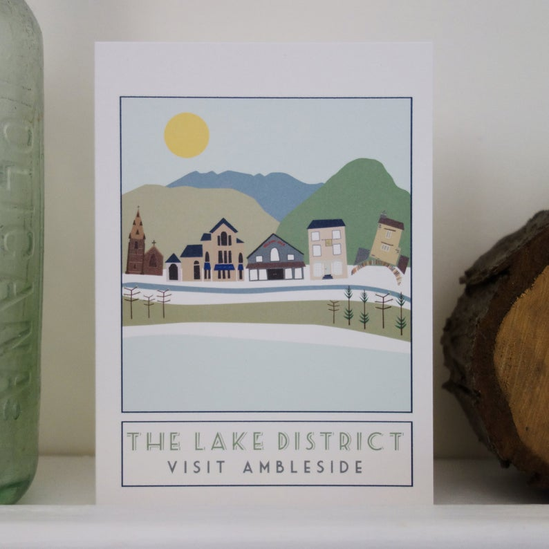 Ambleside Lake District greetings card - tourism poster inspired - Sweetpea and Rascal