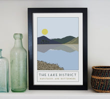 Load image into Gallery viewer, Haystacks and Buttermere travel inspired poster print - Sweetpea & Rascal - Lake District Cumbria