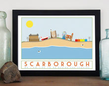 Load image into Gallery viewer, Scarborough tourism inspired poster print - Sweetpea & Rascal - Yorkshire coast