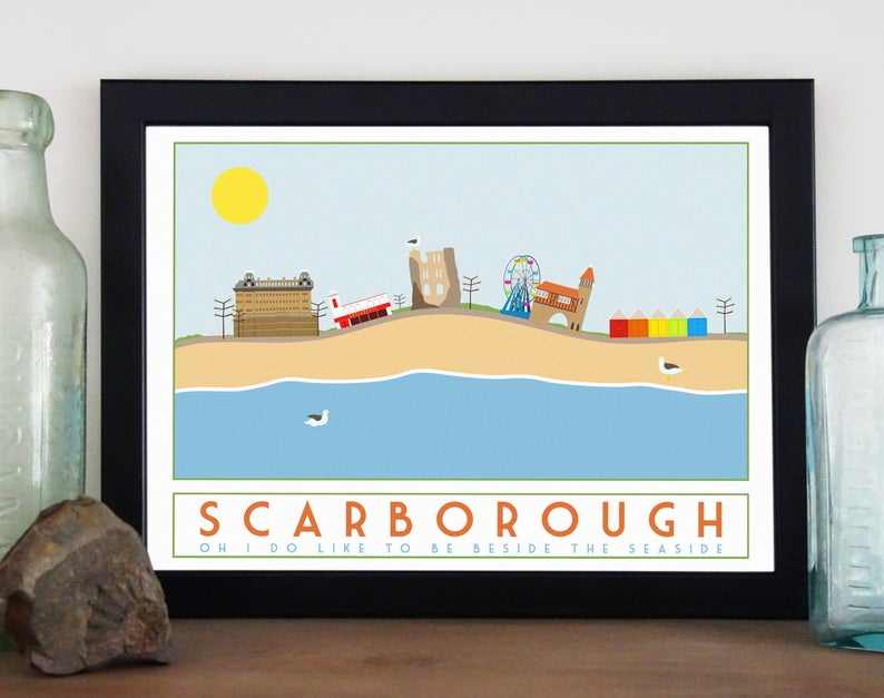 Scarborough tourism inspired poster print - Sweetpea & Rascal - Yorkshire coast