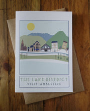 Load image into Gallery viewer, Ambleside Lake District greetings card - tourism poster inspired - Sweetpea and Rascal