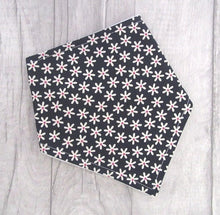 Load image into Gallery viewer, Bandana Bib - black with white/pink flowers baby bib - baby, toddler gift - Sewn by Sarah