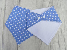 Load image into Gallery viewer, Bandana Bib - baby bib - blue spots - baby, toddler gift - Sewn by Sarah