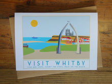 Load image into Gallery viewer, Whitby greetings card - tourism poster inspired - Sweetpea and Rascal - seaside - Yorkshire coast