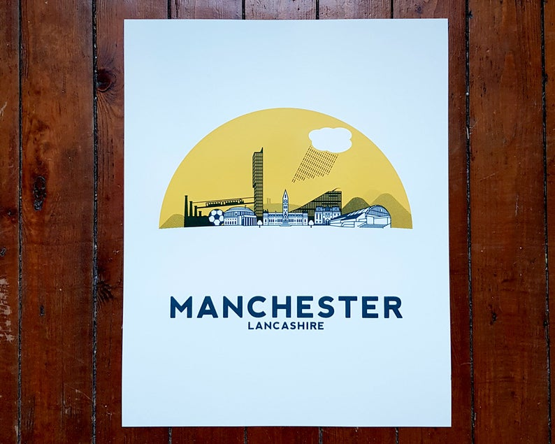 Manchester Screenprint - City skyline print - Or8 Design