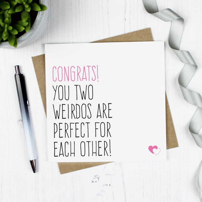 Congrats, you two weirdos are perfect for each other! - Engagement, wedding, anniversary card - Purple Tree Designs