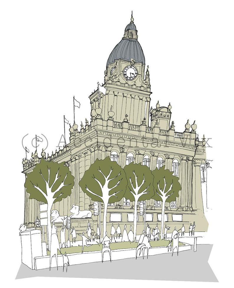 Leeds Town Hall Art Print - Accidental Vix Prints - Leeds illustrations