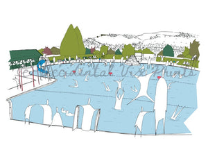Ilkley Lido greetings card - Accidental Vix Prints - Yorkshire illustrations