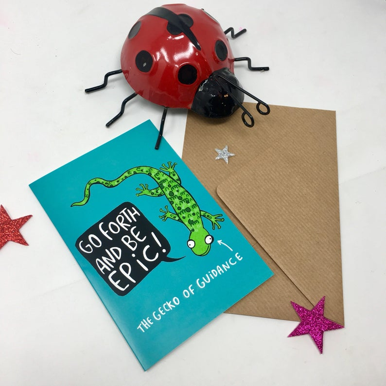 Greetings Card - puns - Katie Abey - Gecko of Guidance - Good Luck - New Job - New Home - Congrats