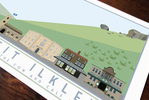 Ilkley Travel inspired A3 poster print - Sweetpea & Rascal - Yorkshire prints - Yorkshire scenes and landmarks
