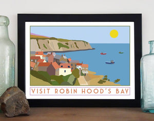 Robin Hoods Bay tourism inspired poster print - Sweetpea & Rascal - Yorkshire coast