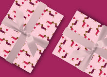 Load image into Gallery viewer, Sausage Dogs Gift Wrap - Dachshund Wrapping Paper - Blush and Blossom Paper
