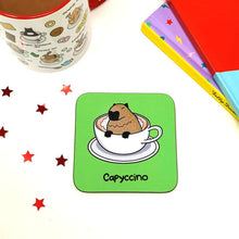 Load image into Gallery viewer, Capycino coaster - Innabox - Puns - Animal lover gift -Coffee Lovers - Capybara