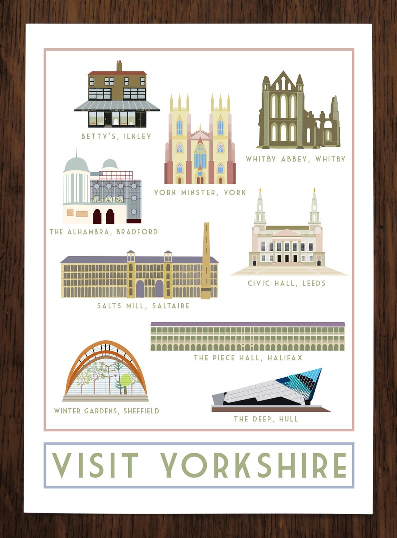 Visit Yorkshire Travel inspired A3 poster print - Sweetpea & Rascal - Yorkshire prints