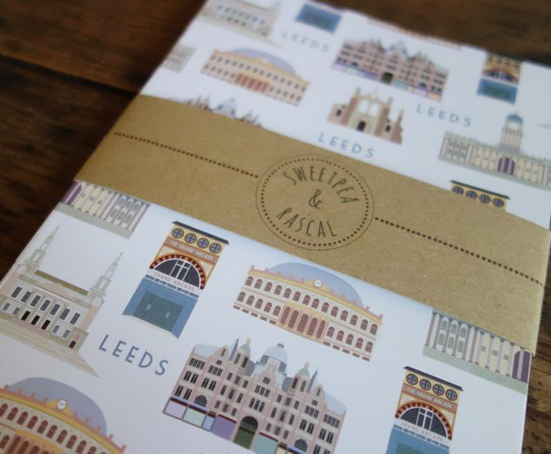 Leeds Landmarks themed Notebook - Sweetpea and Rascal - stationery lovers - Leeds gift