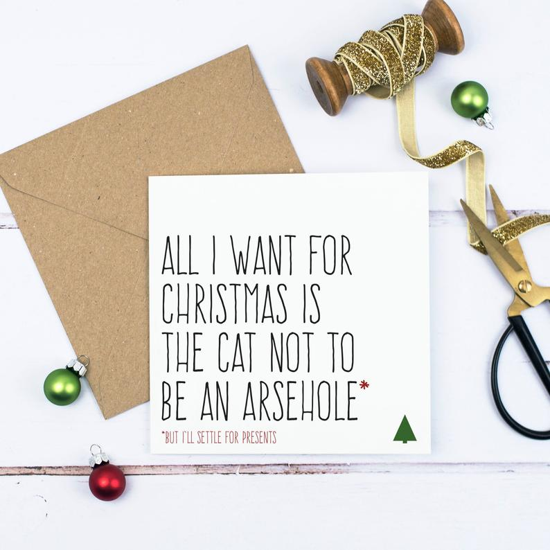 Cheeky Cats Christmas Card - All I want for Christmas is for the cat not to be an a***hole - Purple Tree Designs
